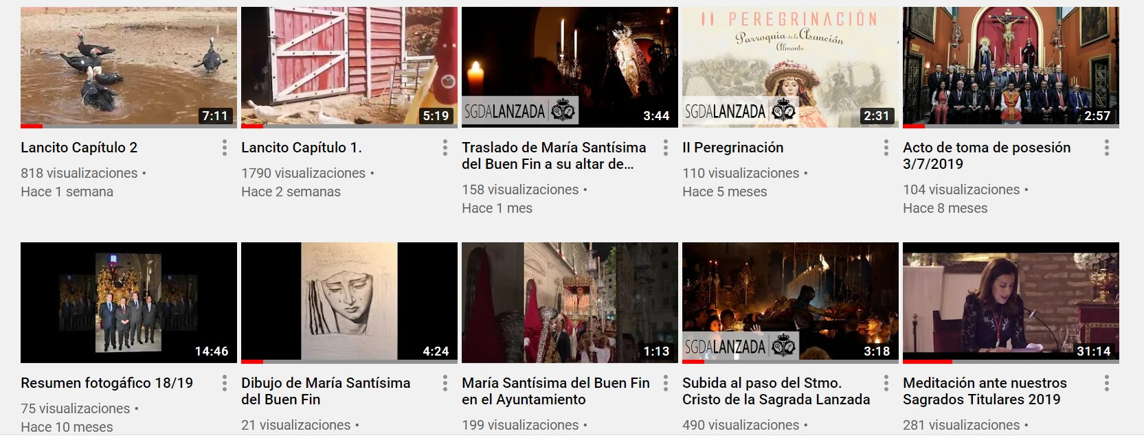 Retransmisiones en nuestro canal de Youtube
